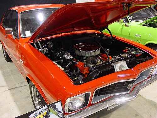 The Firth built Holden Torana XU1 308 V8. One of three V8 versions on the Vauxhall HB/HC with the Torana Six wheelbase extended 3 inches… the V8 a more relaxed fit in the engine bay.