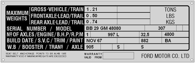 8. Data Plate 105 E